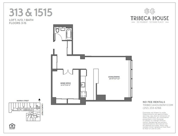 Rendering of 50 Murray 1213 floorplan