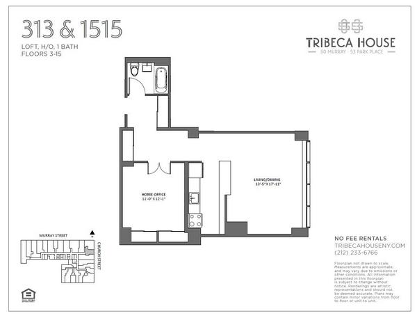 Rendering of 50 Murray 413 floorplan