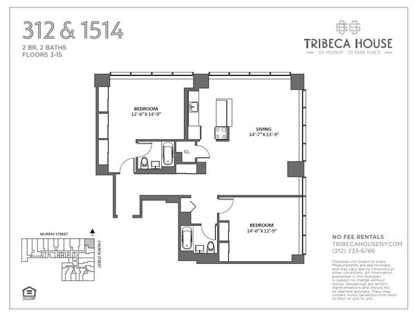 Rendering of 50 Murray 612 floorplan