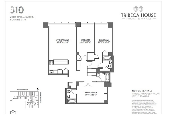 Rendering of 50 Murray 310 floorplan
