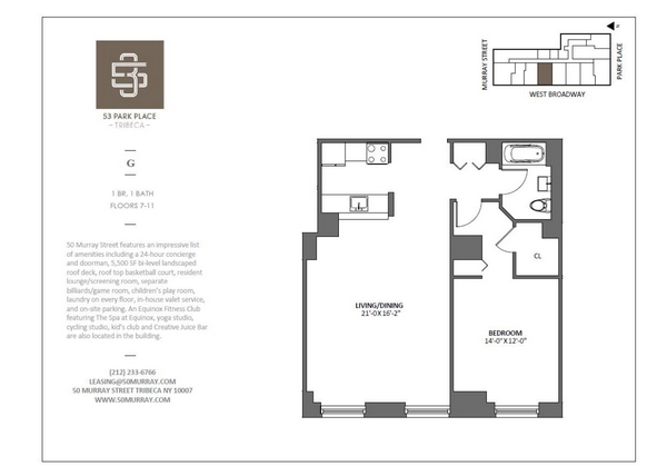 Rendering of 53 Park Place 11G floorplan