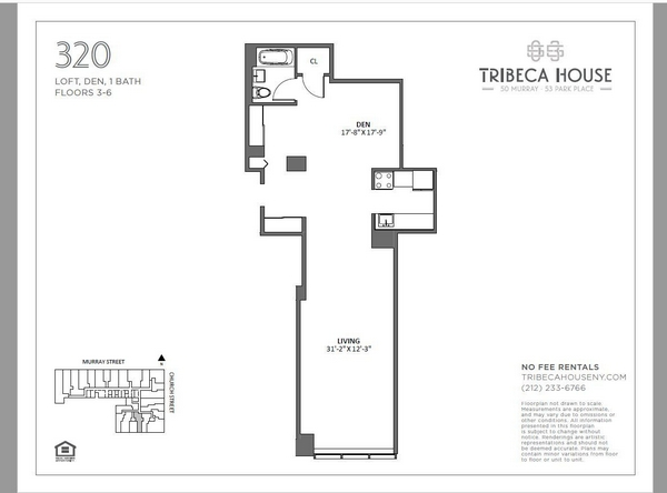 Rendering of 50 Murray 520 floorplan
