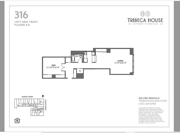 Rendering of 50 Murray 316 floorplan