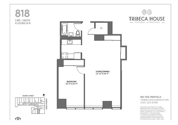 Rendering of 50 Murray 1218 floorplan