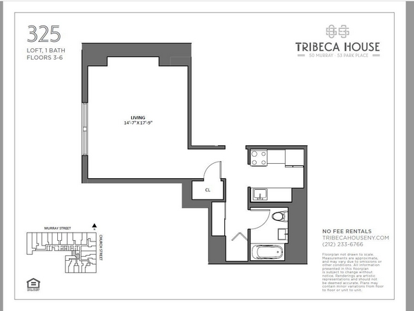 Rendering of 50 Murray 425 floorplan