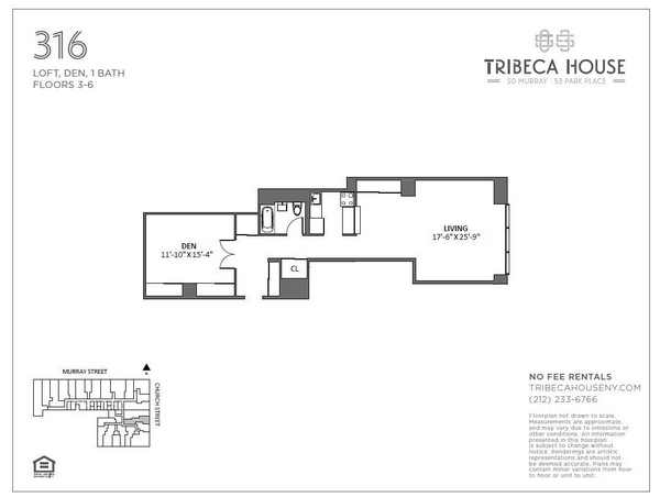 Rendering of 50 Murray 516 floorplan