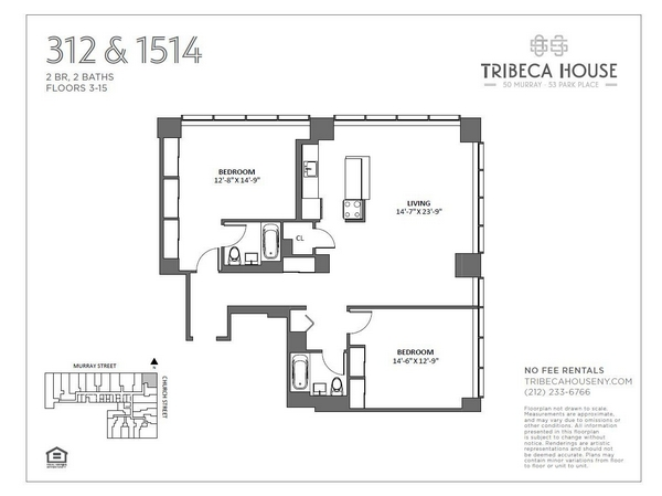 Rendering of 50 Murray 1212 floorplan