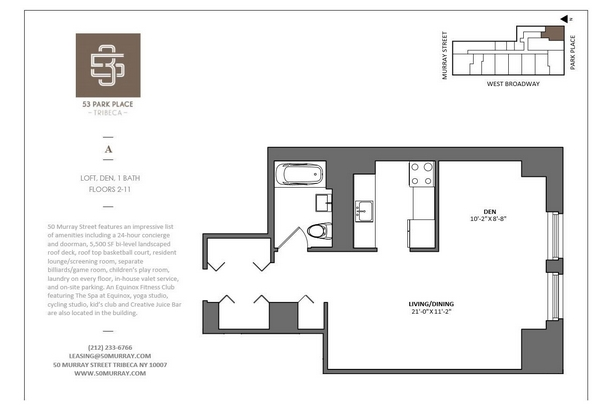 Rendering of 53 Park Place 9A floorplan
