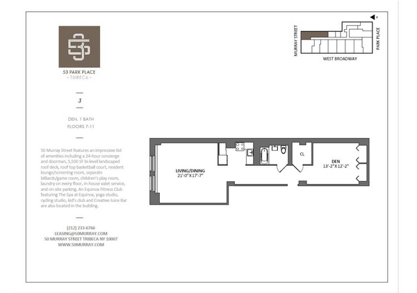 Rendering of 53 Park Place 7J floorplan