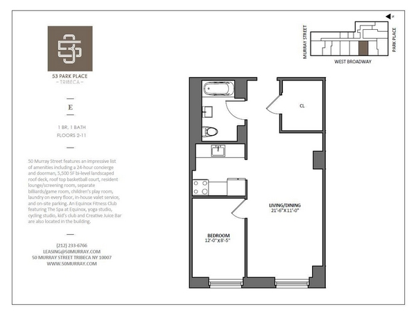Rendering of 53 Park Place 11E floorplan