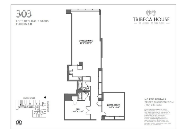 Rendering of 50 Murray 903 floorplan